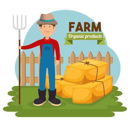 landbouw en landbouw hooibalen vector illustratie grafisch ontwerp Stock Illustratie