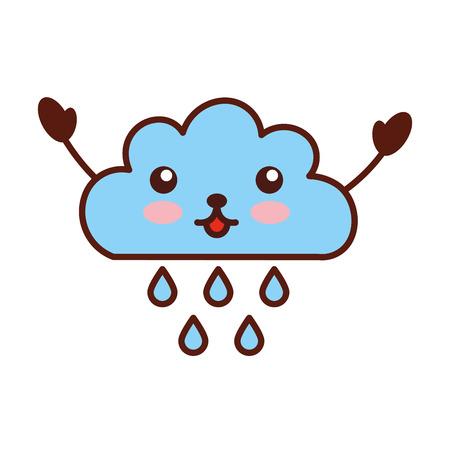 rainy season: Beautiful fantasy cloud with rain drops   character vector illustration design Illustration