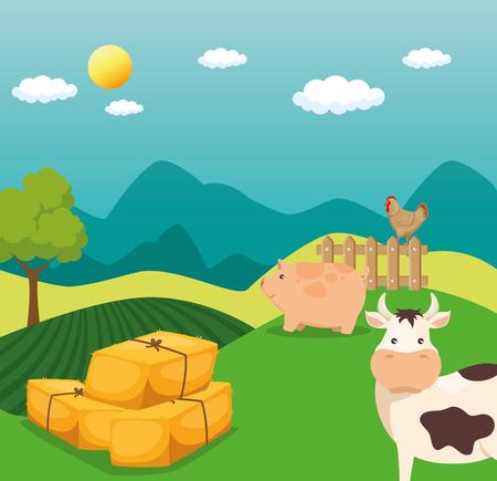 Agricoltura e agricoltura fieno balle illustrazione vettoriale illustrazione grafica Archivio Fotografico - 83629930