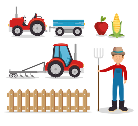 agriculture and farming icon set vector illustration graphic design