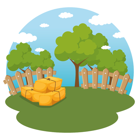 farming and agriculture hay bales vector illustration graphic design Banco de Imagens - 83629932