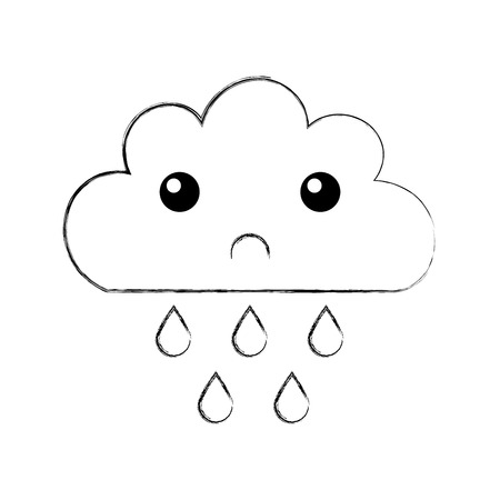 rainy season: Beautiful fantasy cloud with rain drops  character vector illustration design