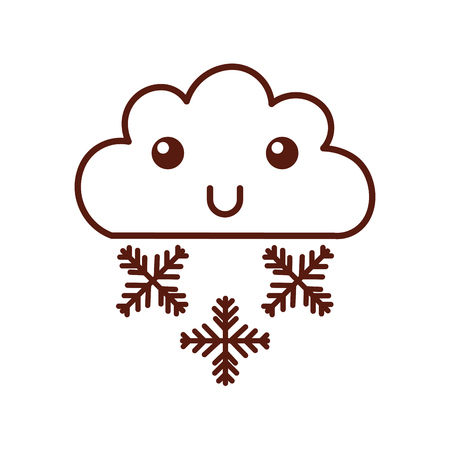 Beautiful fantasy cloud with snowflakes character vector illustration design
