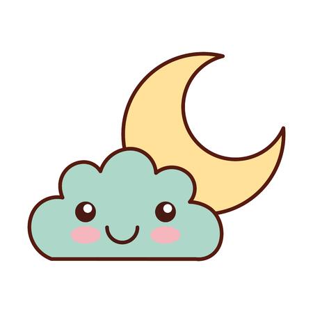 Beautiful fantasy cloud with moon i character vector illustration design Illustration