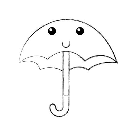 cute umbrella  character vector illustration design Çizim