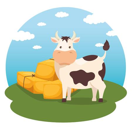 農業と農業の干し草の俵ベクトル イラスト グラフィック デザイン  イラスト・ベクター素材