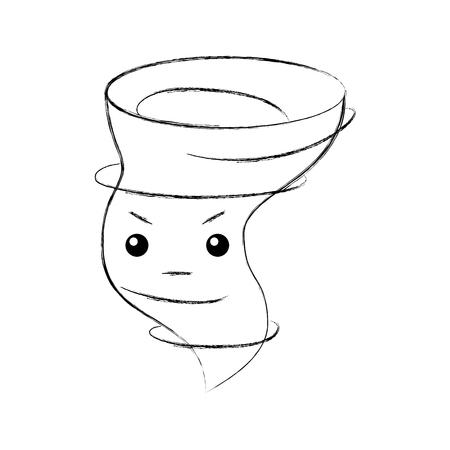 diseño de ilustración de vector de personaje de tornado de aire
