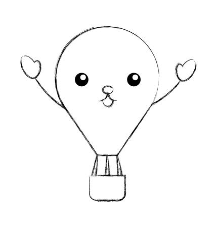 balloon air hot character vector illustration design
