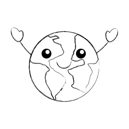 world planet  character vector illustration design Illustration