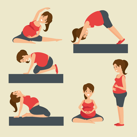yoga training for healthy pregnancy vector illustration graphic design