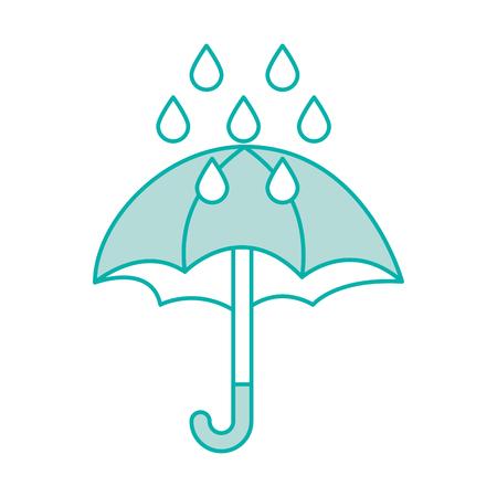 cute umbrella with rain drops vector illustration design Çizim