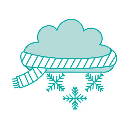 雪の結晶と美しいファンタジー雲ベクトル イラスト デザイン
