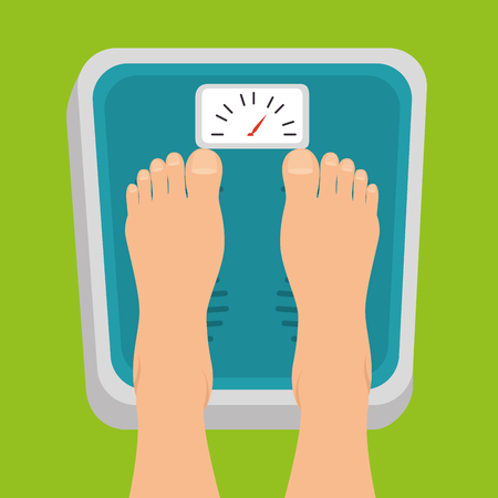 pregnant women feet standing on weight scale vector illustration graphic design