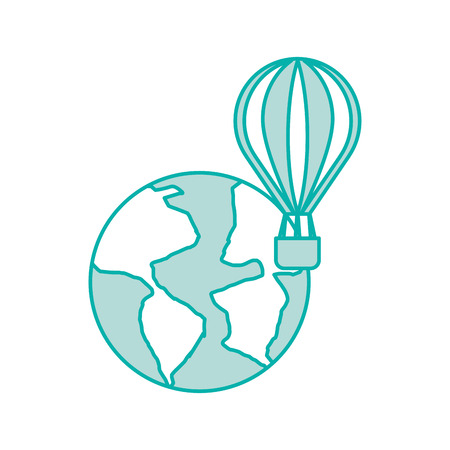 world planet earth with balloon air vector illustration design
