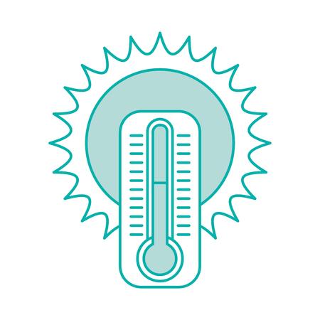 schattige zon met termometer vector illustratie ontwerp