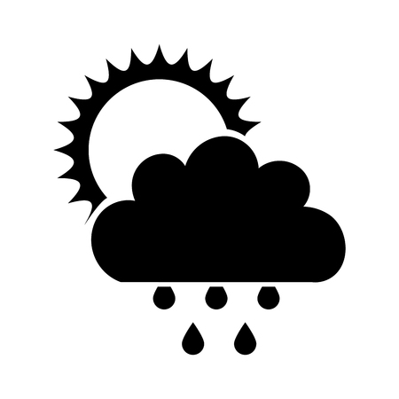 Beautiful fantasy cloud with sun and rain drops vector illustration design