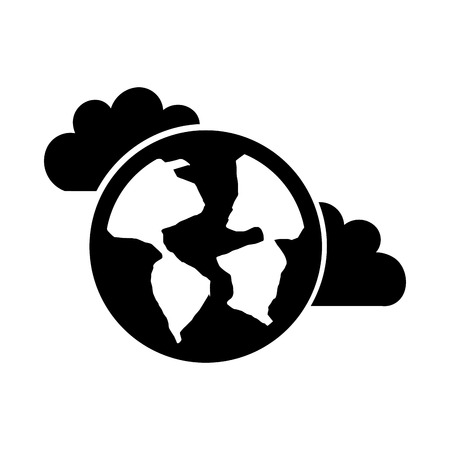 Beautiful fantasy cloud with world planet vector illustration design