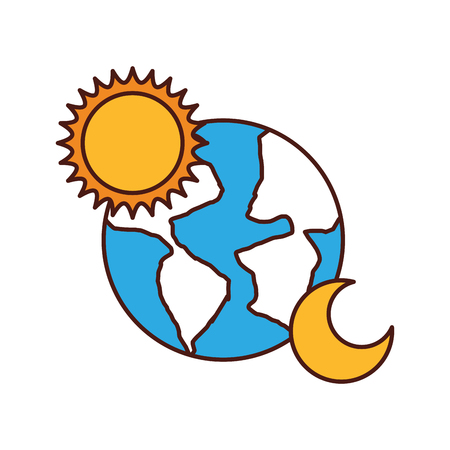 world planet earth with sun and moon vector illustration design Illustration