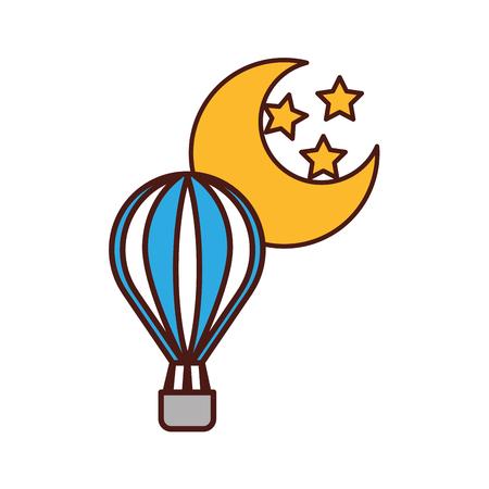 balloon air hot with moon vector illustration design