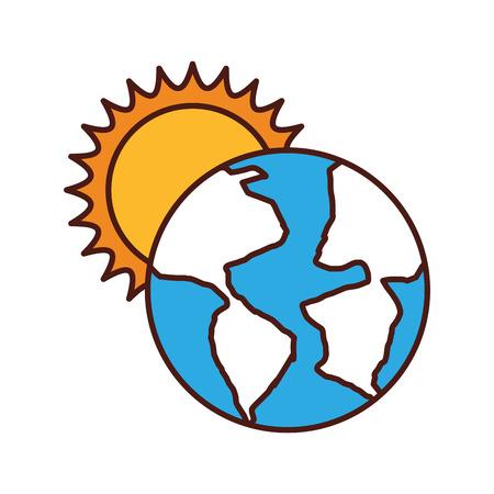 world planet earth with sun vector illustration design