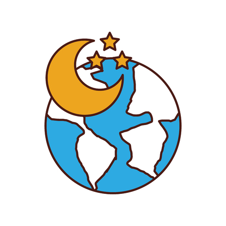 world planet earth with moon vector illustration design