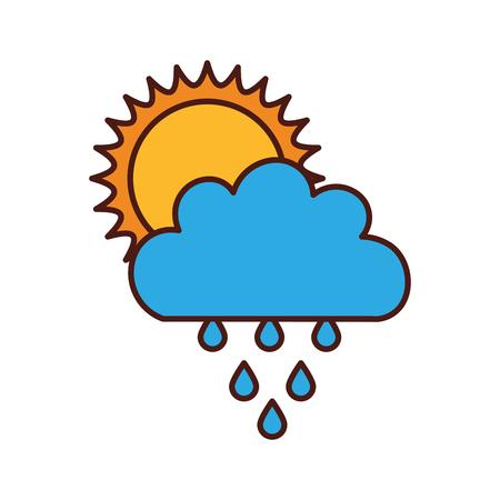 rainy season: Beautiful fantasy cloud with sun and rain drops vector illustration design