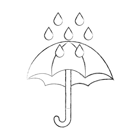 cute umbrella with rain drops vector illustration design Illusztráció