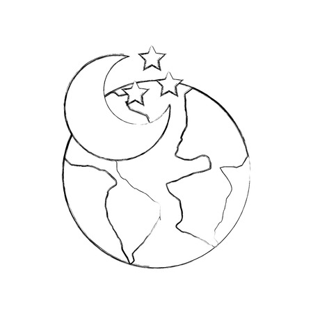world planet earth with moon vector illustration design Stock Vector - 83632637
