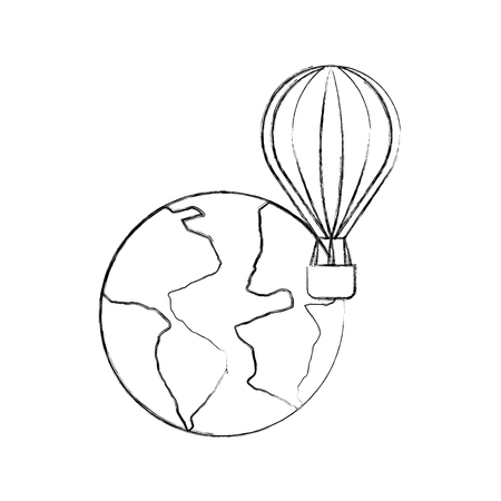 world planet earth with balloon air vector illustration design Stock Vector - 83632713