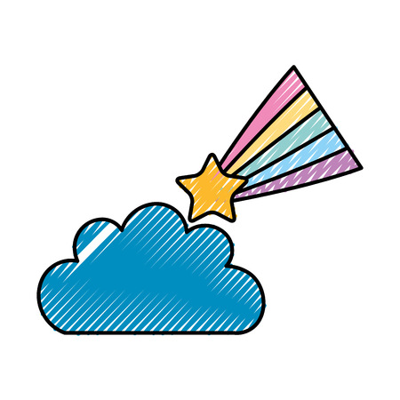 Beautiful fantasy cloud with Shooting Star vector illustration design