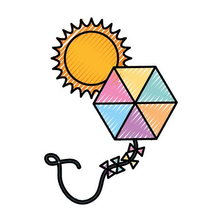 beautiful kite flying with sun vector illustration design