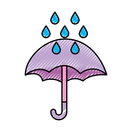cute umbrella with rain drops vector illustration design Ilustrace