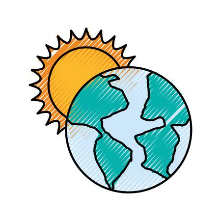 world planet earth with sun vector illustration design Stock Vector - 83633244
