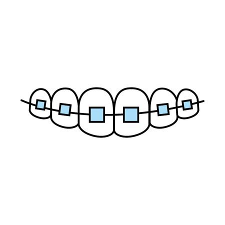 Gebit met ontwerp van de het pictogram het vectorillustratie van de orthodontie
