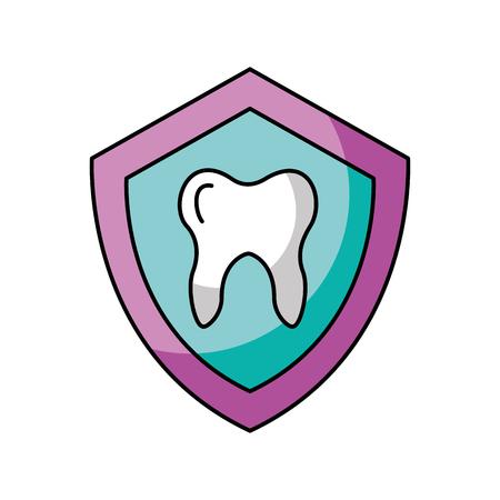 schild met het Menselijke tand geïsoleerde ontwerp van de pictogram vectorillustratie Stock Illustratie