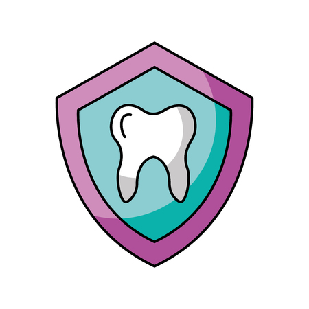 shield with Human tooth isolated icon vector illustration design