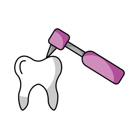 Human tooth with dental drill vector illustration design Ilustracja