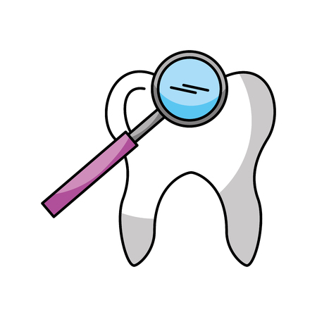 Human tooth with magnifying glass vector illustration design Illustration