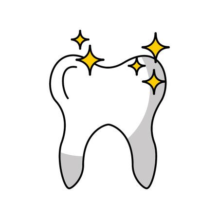 Human tooth with stars vector illustration design Illustration
