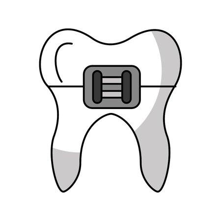Human tooth with bracket vector illustration design Stock fotó - 83677581