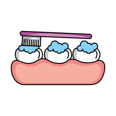 tooth care with toothbrush vector illustration design Çizim
