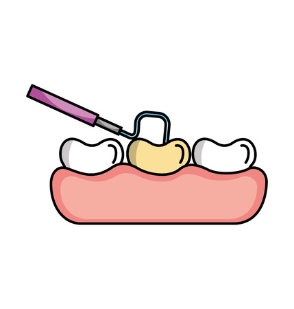 preventive: tooth care with dentistry hook vector illustration design Illustration