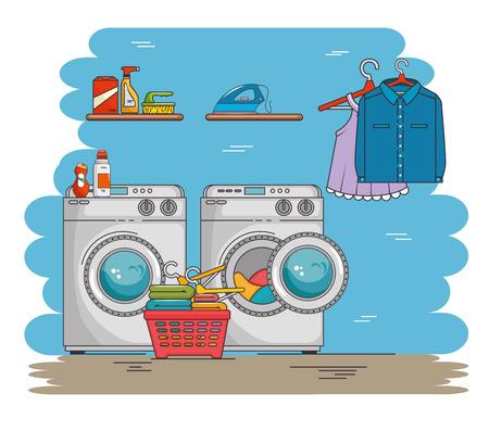 buanderie avec machine à laver et des vêtements illustration vectorielle conception graphique Vecteurs