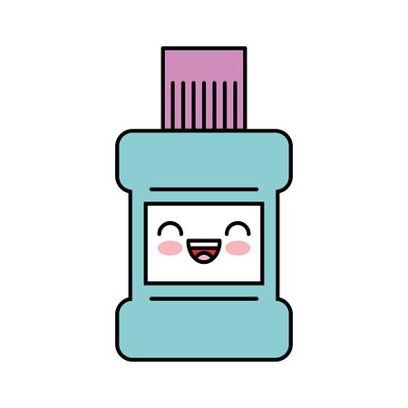 mondwater fles kawaii karakter vector illustratie ontwerp