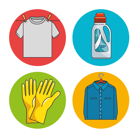 laundry icon set vector illustration graphic design 向量圖像