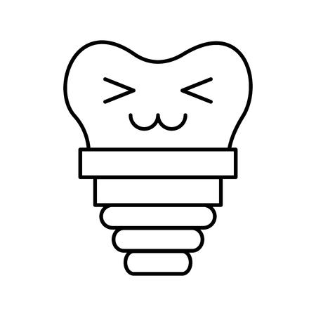 dental implant kawaii character vector illustration design