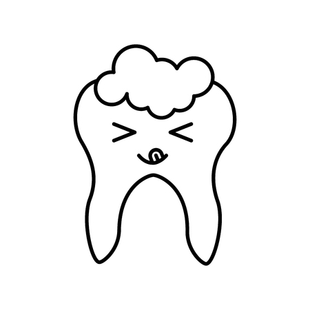 Human tooth with toothpaste kawaii character vector illustration design Stock Vector - 83677668