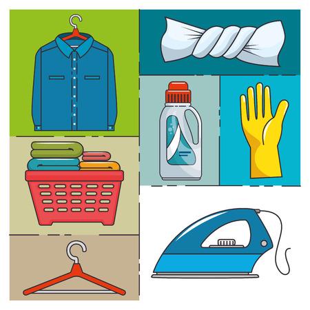 laundry icon set vector illustration graphic design Иллюстрация