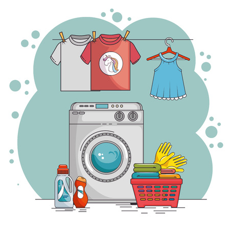 laundry room with washing machine and clothes vector illustration graphic design Ilustrace