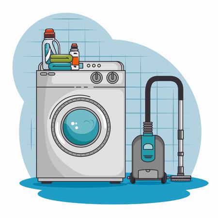 wasmachine en reinigingsmachine vacuüm vectorillustratie grafisch ontwerp